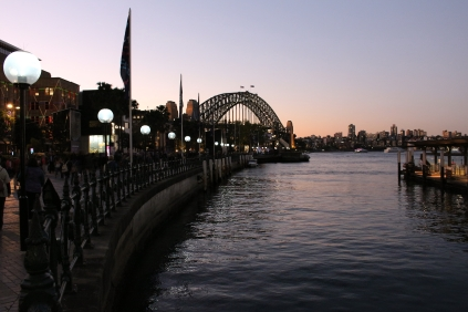Sky growing dark behind the Harbour Bridge