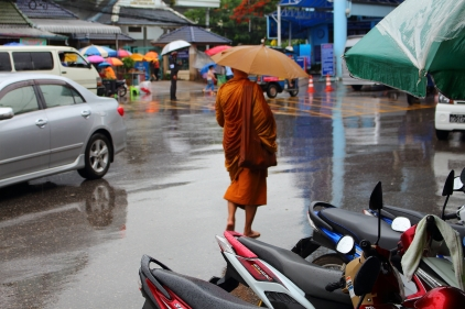 Rainy day for a monk